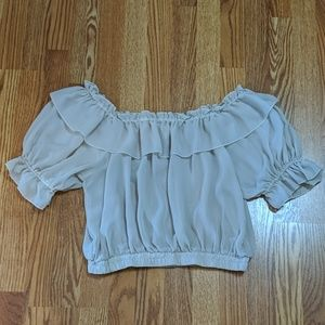 Tan frilly sheer off the shoulder top